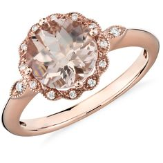 Blue Nile Morganite and Diamond Milgrain Halo Ring (£530) ❤ liked on Polyvore featuring jewelry, rings, vintage style diamond rings, 14 karat gold ring, diamond jewelry, 14k diamond ring and 14 karat gold jewelry