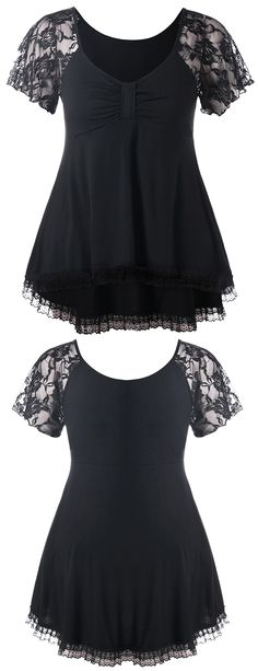 Product Description: This vintage style top is on our wish lists! Soft fabric falls from a V-neckline to sheer lace short sleeves, and high low hemline. Bow bust design for a retro touch. It is easy to be paired with skirts or pants.