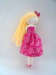 Handmade rag doll , Lili - ooak cloth art rag doll flowers dress