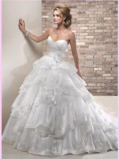 White Ball Sweetheart Lace Flower Organza 2013 Wedding Dress AWD300112