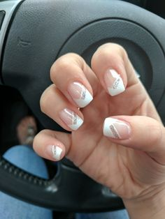 Kimmy did an excellent job with my nails for the wedding Triangle French tips wi. Kimmy did an exc French Tip Gel Nails, French Tip Nail Designs, French Nail Art, Acrylic Nail Designs, Silver Tip Nails, Glitter French Manicure, Pink Nails, My Nails, Triangle Nails