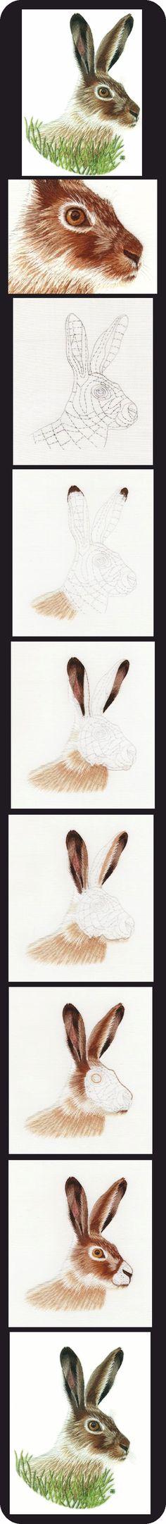 Lapin, peinture à l'aiguille http://www.berlinembroidery.com/jackrabbitworkinprogress.htm#stage1