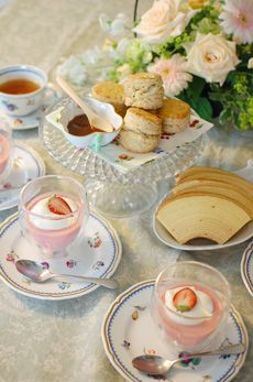 A Pretty Table Set for a Shabby Chic Tea Party with Strawberry Mousse & Biscuits
