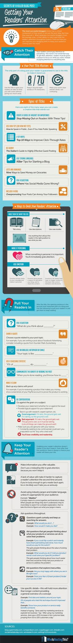 Secrets of a Killer #Blog Post - Getting Your Readers' Attention #Infographic