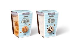 Argentinian Salted Caramel and Choc Chip Cookie Dough Gelato plastic cup wrap designs and illustrations for il gelato by Dessein, Australia