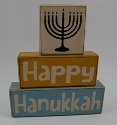 Primitive Country Wood Stacking Sign Blocks Holiday Seasonal Decor Happy Hanukkah-Chanukah Menorah-Jewish Holiday-Festival Lights
