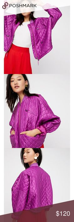 """Free People Orchid Pink Easy Quilted Bomber Jacket NEW Free People Easy Quilted Bomber Jacket Orchid Pink. Nylon bomber, quilted design, exposed outer pocket, drawstring band, front zipper closure. Brand new with tags! Women's Size Medium. Style OB614805. Measurements: Bust 29"""", Length 21"""" Free People Jackets & Coats"""