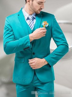 2016 Blue Green Groom Tuxedos Men Suits Notch Lapel Turquoise Wedding Dinner…