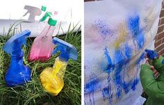 Create splattery masterpieces with these DIY spray paints for kids. Just add diluted paint to empty spray bottles Homemade Crayons, Diy Crayons, Girl Scout Activities, Activities For Kids, Outdoor Activities, Diy For Kids, Crafts For Kids, Tinta Spray, Diy Spray Paint