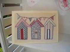 Beach Hut Blank Card, Handmade Textile Card