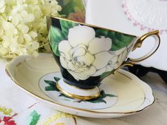 Royal Albert Gardenia Mix and Match Black Teacup | Etsy Gold Flowers, Flower Petals, Vintage Gifts, Unique Vintage, White Gardenia, Tea Party Theme, Royal Stafford, Tea Party Decorations, Floral Garland