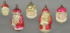 Five Glass Santa Ornaments