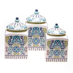 Infuse beautiful, refreshing hues of blue and indigo to your living space with this three-piece Mood Indigo canister set. Ideal for storing dry goods or small accessories, this beautiful ceramic set is hand-painted with a floral medallion pattern.