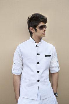 White Pure Linen short Kurta and Jodhpuri trousers. White Nehru jacket with…