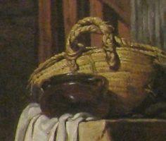 """1757. Detail of """"La Geste Napolitain"""" by Jean Baptiste Greuze.  Flexible basket."""