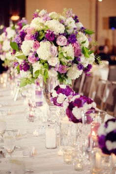 image of purple carnations & purple rose centerpieces | ... Rose Purple And White Flower Dining Table Centerpiece Including Tall