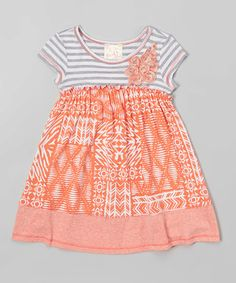 Another great find on #zulily! Gray & Coral Stripe Geometric Dress - Toddler #zulilyfinds