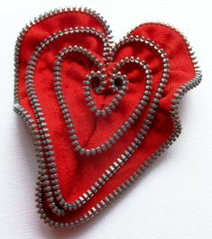 Red Valentine Heart Zipper Pin Brooch  by ZipPinning 3077 by ZipPinning on Etsy