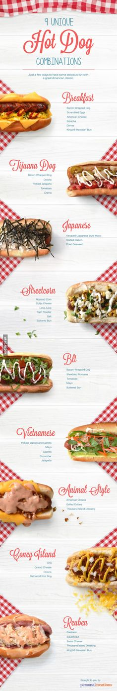 Hot dogs with unique combinations