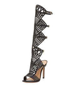 Schutz Brasiliana Convertible Heel Sandal, Black by Schutz at Neiman Marcus.