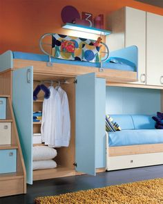 Decorating Ideas: Cool Room For Teenagers: Cozy Minimalist Orange Wall Teenage Bedroom Decoration With Light Blue Wardrobe And Wooden Bunk Beds With Storage Stairs And White Closet On Wooden Flooring Ideas ~ sabpa.com Accessories Inspiration