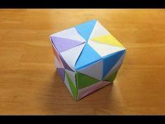 折り紙☆6枚を組み合わせて『立体の四角形・サイコロ』ユニット折り - YouTube