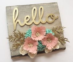Your place to buy and sell all things handmade : Barn wood Felt Flowers Laser Cut Hello Sign by Wood Flowers, Felt Flowers, Fabric Flowers, Paper Flowers, Felt Flower Wreaths, Felt Crafts, Wood Crafts, Diy And Crafts, Arts And Crafts