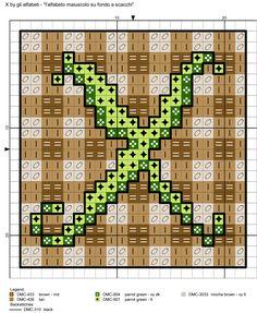 alfabeto maiuscolo su fondo a scacchi X