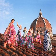 Emilio Pucci  - Summer Collection - Models on the roof of Palazzo Pucci, Florence 1969