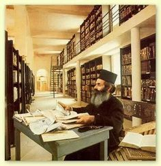 This is the inside of the library of Saint Catherine's Monestary Library, in Egypt.  Built in the sixth century CE, it's the oldest continuously running library in the world.  Along with an impressive collection of codices (second only to the Vatican), this library houses the Achtiname, a document that includes a promise from Muhammad offering his protection to Saint Catherine's Monestary.  Impressive!  RC