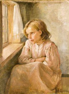 Girl at the Window, Antonina Rzhevskaya. Russian (1861-1934)