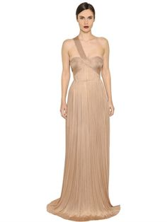MARIA LUCIA HOHAN - IMMAN DRAPED PLEATED SILK TULLE GOWN - POWDER PINK