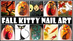 Fall nail art design with cute little cat stickers available at http://www.meliney.com
