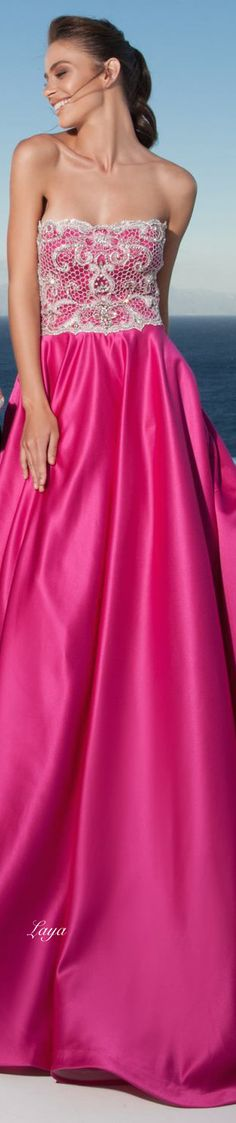 Tarik Ediz ~ Couture Spring Hot Pink Maxi Dress w Embroidered Lace Bodice 2015 Pink Gowns, Pink Dress, Pink Maxi, Pink Fashion, Runway Fashion, Fashion Outfits, Lovely Dresses, Beautiful Gowns, Evening Dresses