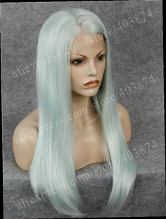 44.19$  Watch now - http://alis7r.worldwells.pw/go.php?t=32676147799 - N2-1001/5412/2334 Charming Mint Green Color Natural Looking Long Silky Straight Synthetic Lace Front Wigs for Party Drag Queen 44.19$