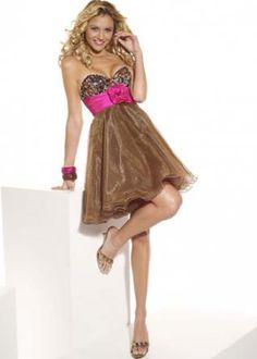 Sweetheart Beaded Sash Organza Homecoming Dress