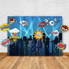 Fun, easy, inexpensive: Superhero Cityscape Photography Backdrop and Studio Props DIY Kit. Great as Super Hero City Photo Booth Background – Birthday Party and Event Decorations: Kitchen & Dining Batman Party Favors, Superhero Theme Party, Party Themes, Party Ideas, Superhero Classroom, Themed Parties, Superhero School, Superhero Halloween, Classroom Decor