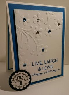 "Themed Birthday ""Live Laugh Love"" made using Stampin' UP! products. For more info &/or ideas, please visit: www.stampinup.net/esuite/home/suzy-q/"