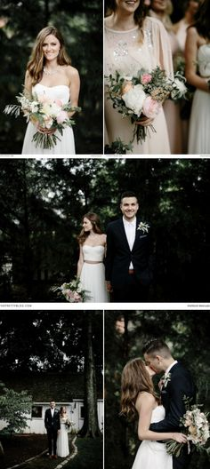 A backyard wedding with a trendy yet relaxed twist - a beautiful strapless two piece wedding dress with bridesmaids in dusty pink dresses! https://www.theprettyblog.com/wedding/this-trendy-nashville-plantation-wedding-is-one-for-the-ages/?utm_campaign=coschedule&utm_source=pinterest&utm_medium=The%20Pretty%20Blog&utm_content=This%20Nashville%20Wedding%20Had%20It%20All Photography by Brad and Jen Photography