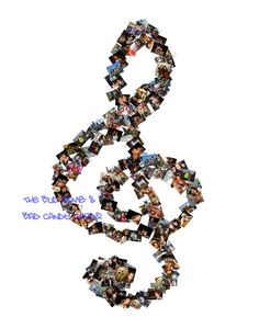 Personalized photo collage of treble clef note. Perfect gift for your favorite band geek, music teacher or music lover!