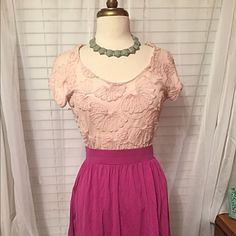 Zara Basic 3-D top Stunning top with floral designs that pop. Soft pink color goes well with a gray midi skirt or lavender pants. Fits a medium tight and a small loose. ***necklace not for sale. Skirt in another listing*** Zara Tops Tees - Short Sleeve
