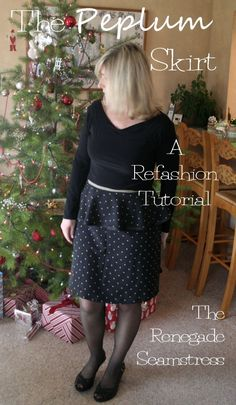 Here's a quick refashion idea perfect for any celebration.  Start with a long thrift store skirt.