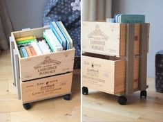 Books in Single box! Pallet Crates, Wooden Crates, Wooden Boxes, Toy Storage Solutions, Creation Deco, Diy Projects To Try, Organizer, Home Organization, Diy For Kids