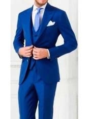 Product# Mens 3 Piece Royal Blue Suit For Men Perfect Wedding Tuxedo Single Breasted Big Notch Lapel Vested Flat Front Pants Regular Fit Suit Royal Blue Suit Wedding, Men's Tuxedo Wedding, Wedding Men, Wedding Tuxedos, Royal Blue Suit Mens, Cobalt Blue Suit, Luxury Wedding, Wedding Gifts, Wedding Ideas