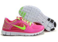 best sneakers 21a2f e3917 Baskets Femmes Nike Free Run 3 Rose Fluo Vert JB1150 Green Pro, Red Green,