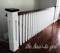 The How-To Gal: Memoirs of a Banister square spindles, white spindles, dark handrail