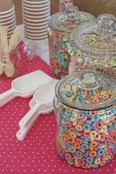 My favorite birthday party growing up was a pj party in the morning ... We had brunch, a sun shaped cake, and played games. A cereal bar would be a perfect addition!  And inexpensive.