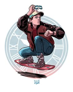 Happy #BackToTheFuture Day, Time Travelers! Excuse us whilst we hop on our hover boards & grab ourselves a dehydrated pizza... Illustration by the awesome David Buisan. #backtothefuture #futureday #martymcfly #future #hoverboard #illustration #art #jellylondon