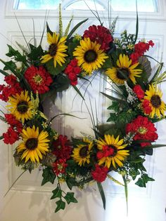 Sunflower Wreath Summer Wreath -  Gotta try to make this one...