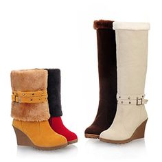 673ed430233534 New Multi Style Womens Buckle Faux Suede Snow Boots Sexy Wedges Heel Knee  High Boots Ankle